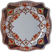 12 Square Plates Imari Colors Antique China English Newport Stafford - Red Tag Sale Item