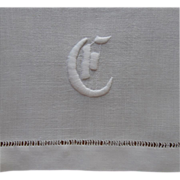 Monogram G Antique Towel Or Runner Linen Cotton Blend ca 1910