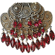 Byzantine Style Vintage Large Brooch Pin Dangling Red Glass Stones Filigree