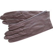 Taupe Leather Vintage Gloves Silk Lined Size S