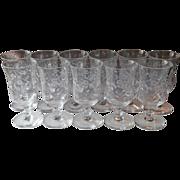 Juice Tumblers Footed Rock Sharpe Libbey Cut Glass Stemware 8 Vintage Glasses