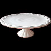 Huge Cake Pedestal Stand Milk Glass Lattice Rim Vintage