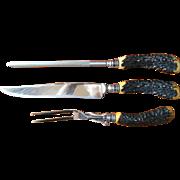 Bakelite Faux Horn Carving Set Vintage Knife Fork Steel