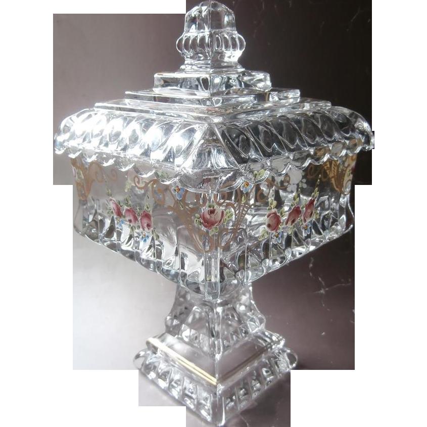 Wedding Box Glass Enameled Roses Vintage Pedestal Candy