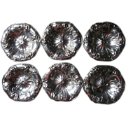 Silver Butter Pats Nut Dishes Pairpoint Antique Roses Repousse