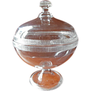 Big Covered Compote EAPG Pressed Glass Antique Zipper Simple