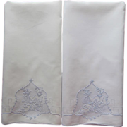 Pillowcases Appenzell Type Embroidery Vintage Linen Pair Trousseau