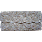 Glass Bead Sequins Clutch Purse White Cream AB Vintage
