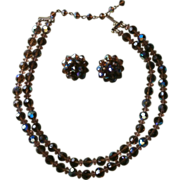 Brown AB Cut Crystal Beads Vintage Necklace Earrings Set