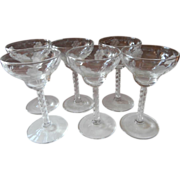 Cocktail Glasses Engraved Flowers Twist Stem Vintage Stemware Set 6