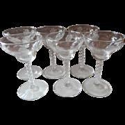 Cocktail Glasses Engraved Flowers Twist Stem Vintage Stemware Set 6