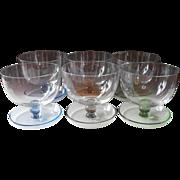 Shrimp Cocktail Finger Dessert Bowl Glasses Vintage Colored Pedestal Bases