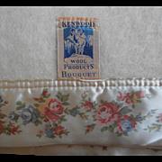 Wool Blanket Flowered Satin Binding Vintage Unused Kenwood Ivory