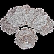 Irish Crochet Lace Doilies Antique Set 6 Finger Bowl Size