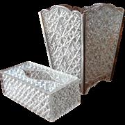 Waste Basket Tissue Holder Set Vintage 1960s Vanity Powder Room  Plastic Trelawney Faceted