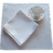 Damask Luncheon Napkins Vintage Set 8 Linen Hemstitched Borders