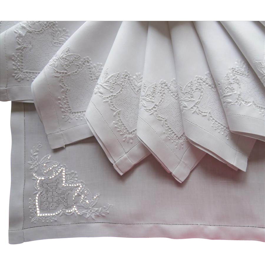 Fine Cutwork Linen Napkins Set Vintage Hand Embroidery ...