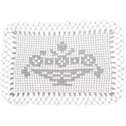 Tray Cloth Filet Crocheted Lace Vintage Bowl Flowers