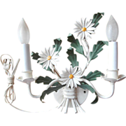 Sconce Light Fixture Italian Tole Daisies Vintage Painted Metal