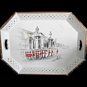 Nashco Tole Tray Buckingham Palace Guards Vintage Red Black White