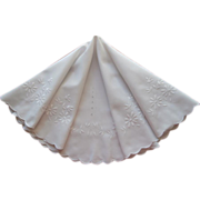 Round Tablecloth Antique 1900s Whitework Embroidery
