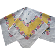 Small Printed Tablecloth Yellow White Pink Roses Vintage Kitchen