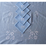 Tablecloth Set Blue White Embroidery 11 Napkins Vintage 101 x 60 Luncheon