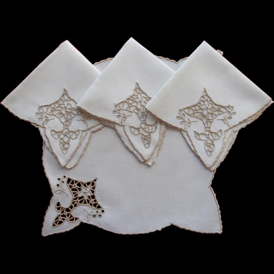 Tea napkins bridge vintage madeira linen ecru cutwork for Glass cut work designs