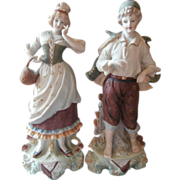 Bisque Figurines Pair Vintage Tall Country Couple TLC