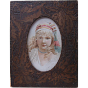 Pyrography Frame Antique Picture Wood Burning Poker Work TLC - Red Tag Sale Item