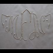 Banquet Tablecloth 158 x 64 Vintage Dual Monogram M N F