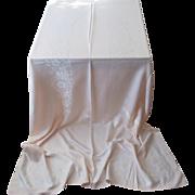 Pale Peach 1950s Tablecloth Vintage Rayon Cotton Damask 104 x 66