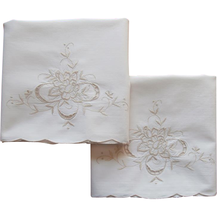 Pillowcases vintage cream ecru cotton embroidery cutwork for Glass cut work designs