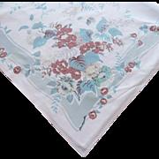 Tablecloth Aqua Brown Print Vintage Kitchen Cotton Printed