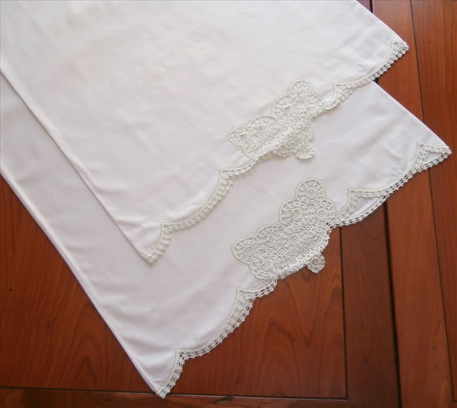 Pillowcases Ice Green Crocheted Lace Trim Vintage Cotton ...