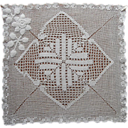Crocheted Pillow Top or Square Centerpiece Doily Vintage 1920s 30s