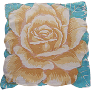Linen Hankie Aqua Yellow Huge Rose Vintage