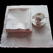 Set 16 Napkins Luncheon Vintage 1960s Cream Ivory Lace Corners