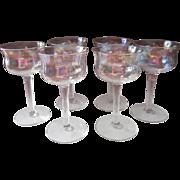 Iridescent Cocktail Stemware Optic Rib Vintage Glasses Dessert Wine