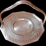 1920s Cake Basket Silver Pierced Decagon Shape Vintage