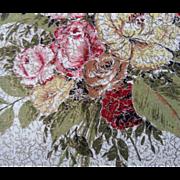 Bark Cloth Roses Metallic Vintage 1950s Unused 2 Curtain Panels