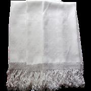 Set 3 Big Towels Linen Damask Fringe Trousseau Vintage 1920