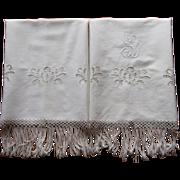 Monogram S D Italian Cutwork Towels Vintage 1920 Linen Cutwork