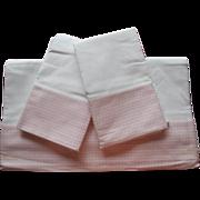 Sheet Set Pink Dots Borders Vintage Pillowcases Cotton Unused