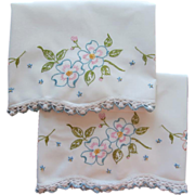Pillowcases Hand Embroidery Crocheted Lace Vintage Dogwood