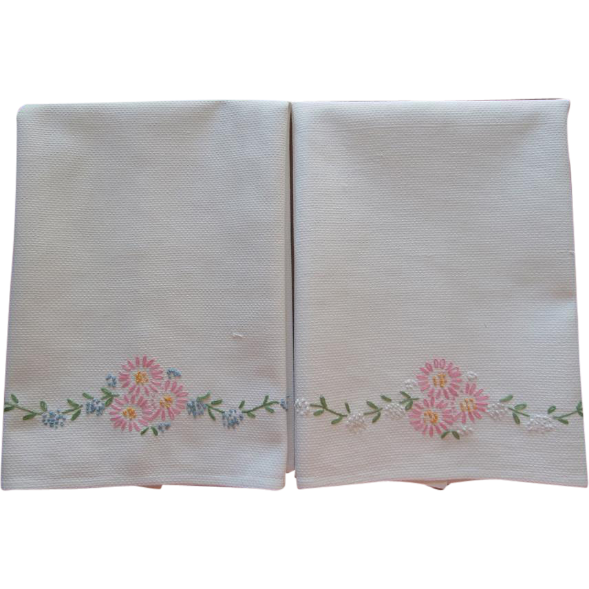 Pair towels hand embroidery pink blue flowers cotton from