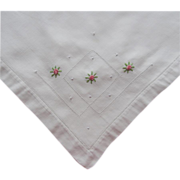 Tea Tablecloth 1920s Vintage Pink Little Roses Embroidery