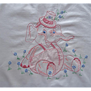 Crib Duvet Hand Embroidery Elephant Baby Vintage Cotton