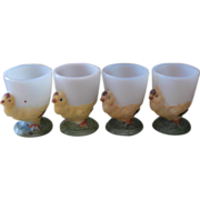 Antique Egg Cups Hand Painted Milk Glass Set 4
