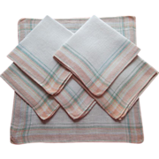 Breakfast Napkins Peach Jadite Green Plaid Vintage 1920s Linen